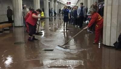 В Харькове одну из станций метро залило водой