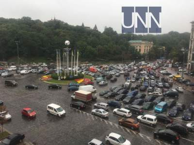 Водители на еврономерах перекрыли центр Киева