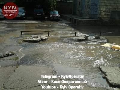 В Киеве второй раз за сутки прорвало трубу