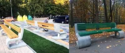 В Киеве коммунальщики покрасили дизайнерские лавки